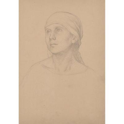 Alexis Douillard (1835-1905), Black Pencil Drawing, Portrait Of Woman, Pupil Of Flandrin, Nantes