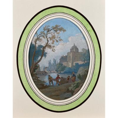 Romantic Landscape, French School Of The XIXth Century, Gouache On Paper