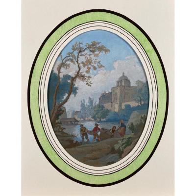 Paysage romantique, école française du XIXème siècle, gouache sur papier