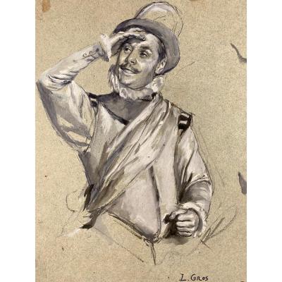 Lucien Alphonse Gros (1845-1913), homme en costume, dessin Gouaché