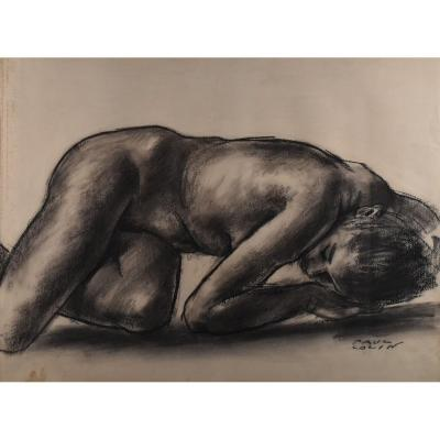 Paul Colin (1892-1985), Dessin Au Fusain, Jeune Femme Nue, Art Deco