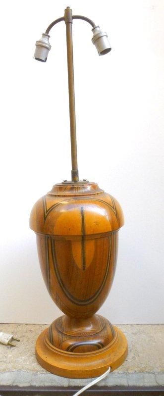 Pied De Lampe En Bois tourné époque 1930