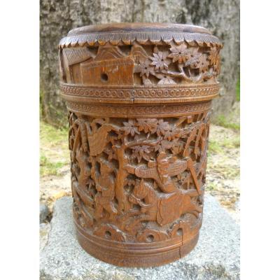 Pot En Bambou Chine Ancienne Signé
