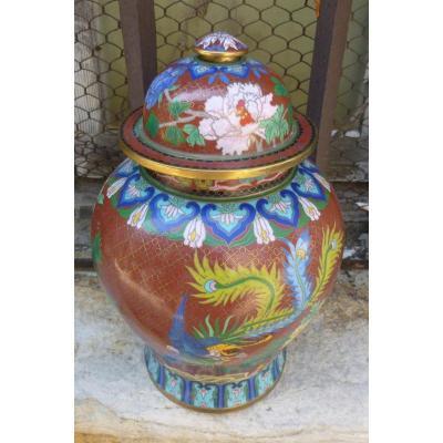 Vase En Cloisonné Sur Bronze Chine XIXème