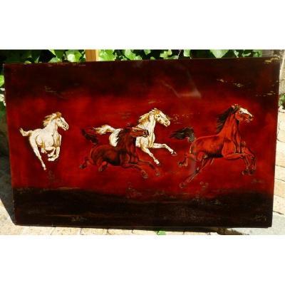 Laque Rouge Et Or, Coquilles d'Oeufs Vietnam Années1950-60 Signé Thanh Le