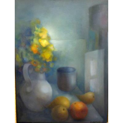 Beautiful Modernist Still Life By Renée Lubarow 1923-2017