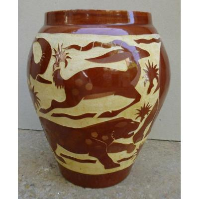Art Deco Jungle Animals Vase Signed By Roger Mequinion