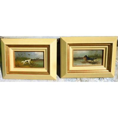 Pair Of Hunting Paintings By Charles Olivier De Penne 1831-1897