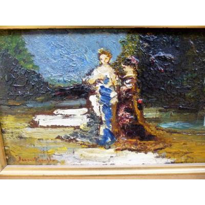 Scène De Parc Fin XIX Par Adolphe Monticelli 1824-1886