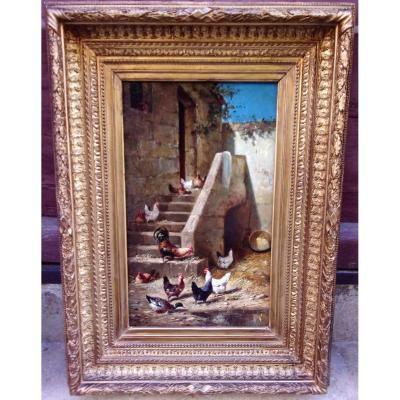 La Basse Cour Par Théodore Laffitte 1816-1875