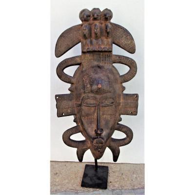 Superbe Masque Ancien De Danse Kpelié - Senoufo, Mali à Patine d'Usage