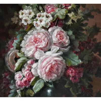 Bouquet De Fleurs XIX ème Signé De Clément Gontier 1876-1918