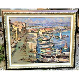 The Port Of Toulon Before The War By Henri Audouaire 1897- Died  Around 1960