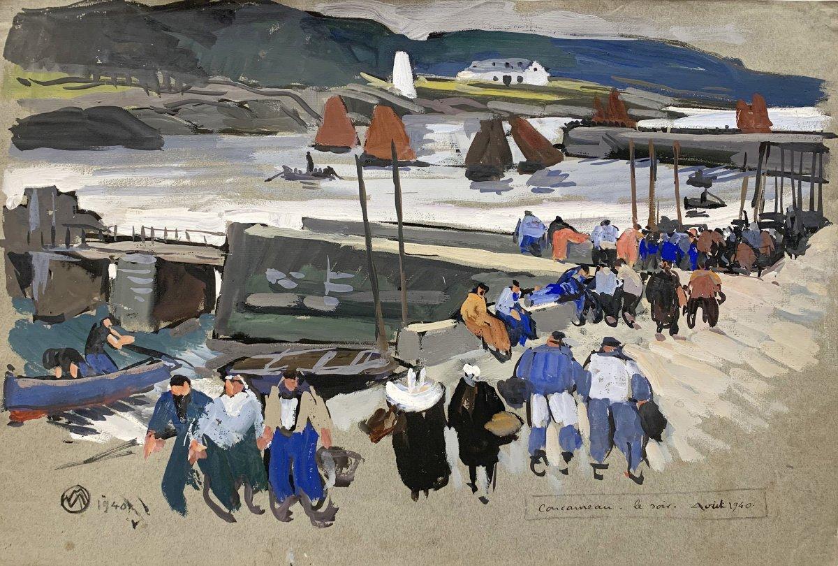 Concarneau, le Soir, Août 1940 par Mathurin Méheut (1882 - 1958)