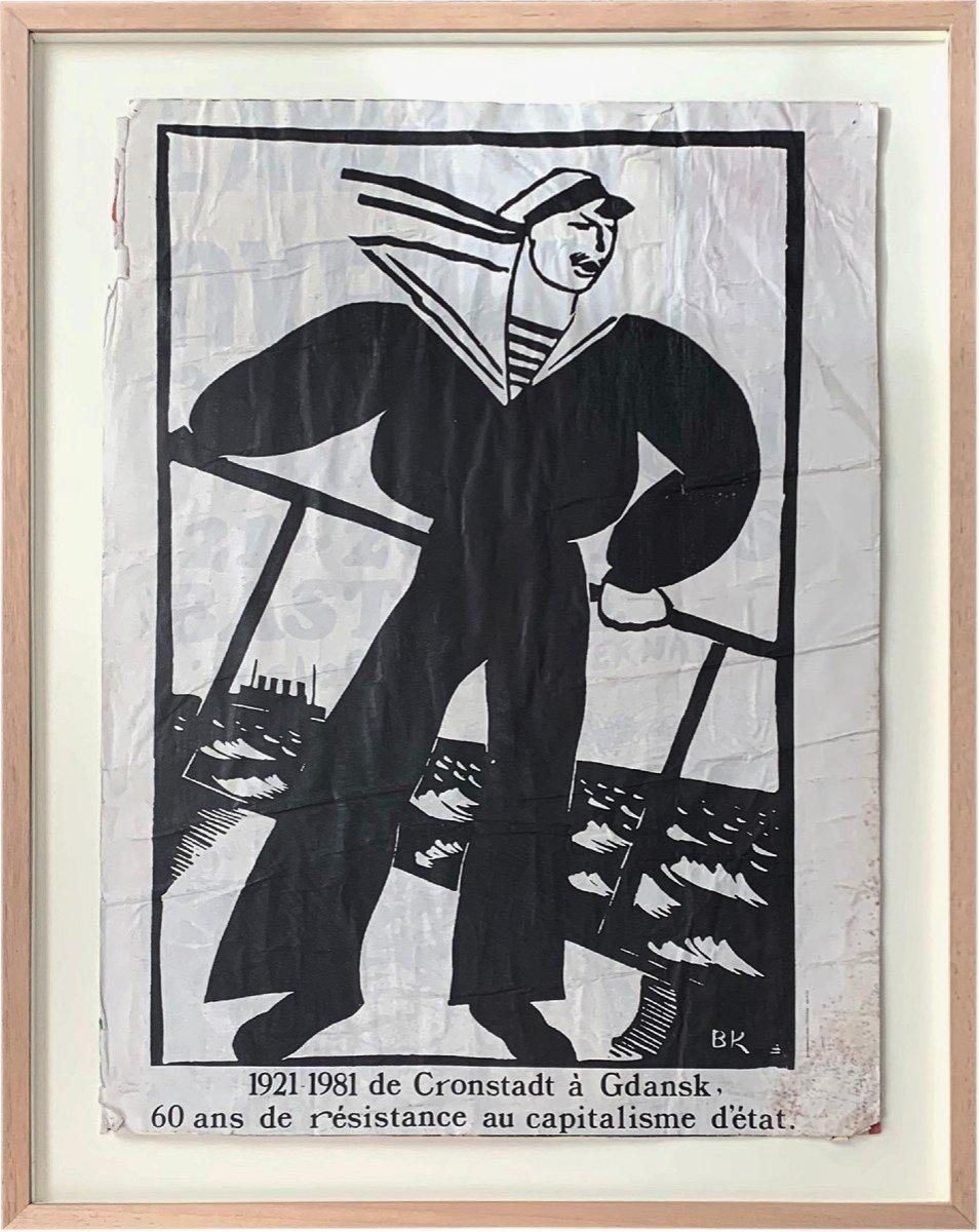 Affiche encadrée: 1921-1981 de Cronstadt à Gdansk, 60ans de résistance au capitalisme d'état