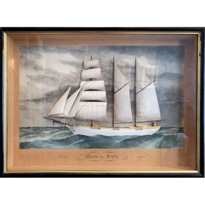 Diorama d'Un Trois-mâts Barque