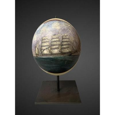Painting Of A Three-masted Barque On An Ostrich Egg