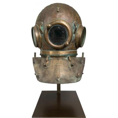 English Diver's Helmet From The End Of The XIXth / Beginning Of The XXth