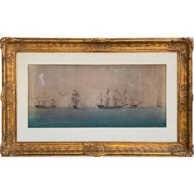 Étude Des Déplacements Lors D'une Bataille Navale, Cercle De Thomas Whitcombe (1763 – 1824)