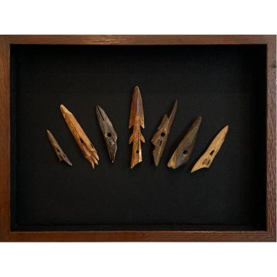 Set Of Inuit Harpoon Points, 2000 Years Of History