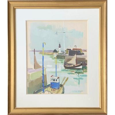 The Port Of Honfleur By Jacques Bouyssou (1926-1997)