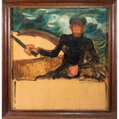 Marin Dans Sa Barque Par David Osipovitch Widhopff (1867 - 1933)