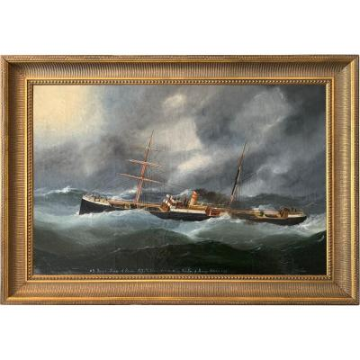 Portrait Of A Mixed Cargo Ship In The Storm By Marie-edouard Adam (1847-1929)