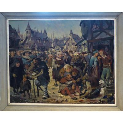 Painting Village Scene In The Middle Ages.
