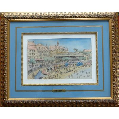 Arcachon Watercolor Signed Barday