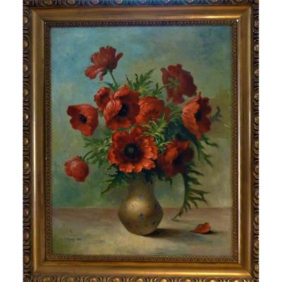 Large Painting Bouquet Of Poppies