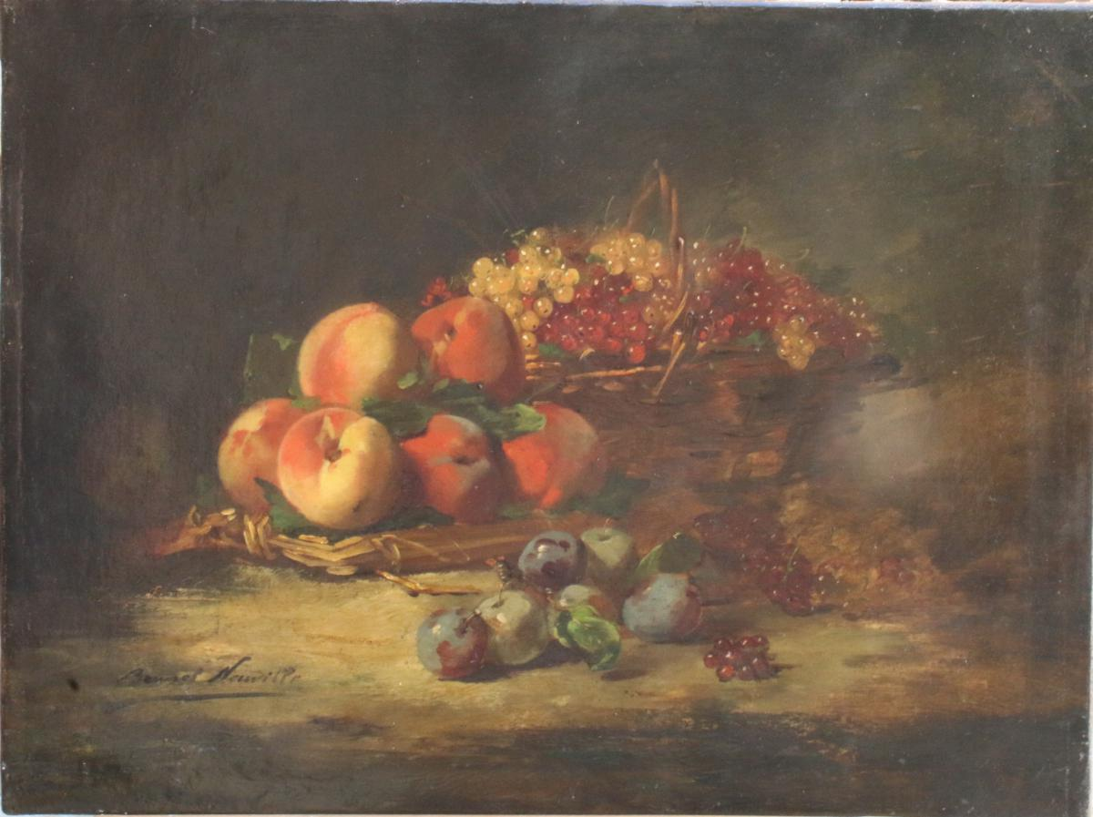 Arthur Alfred Brunel De Neuville, Nature Morte Aux Fruits, Huile Sur Toile, 65 X 49 Cm, Signé