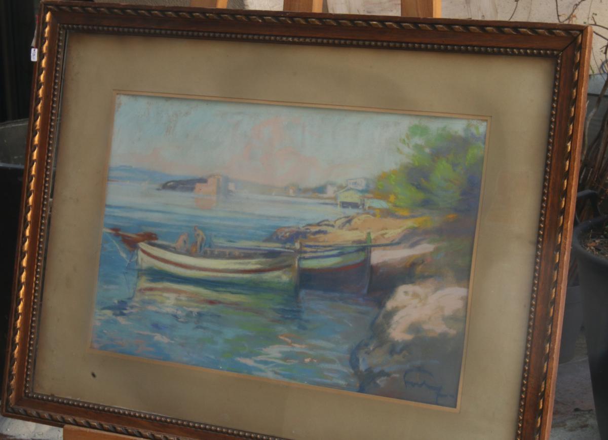 Louis Fortuney, Vue Du Port d'Antibes, Pastel, 63 X 45 à Vue, Signé