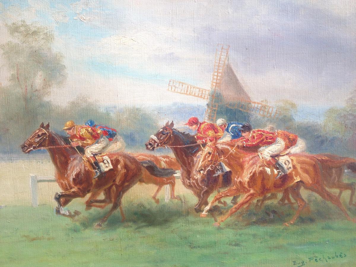 Eugène Pechaubès, Grand prix de Diane, huile sur toile,signé