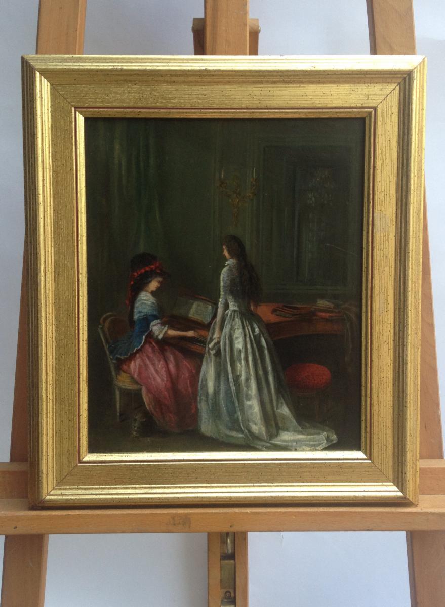Ferdinand Roybet, La Leçon De Piano, Huile Sur Panneau, 32 X 25 Cm, Signé