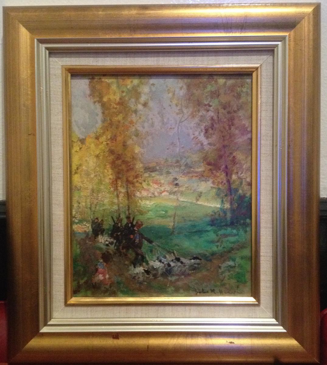 Jules René Hervé, Scène De Chasse Finement Observée, huile sur carton, 40,5 x 35,5 cm, signé