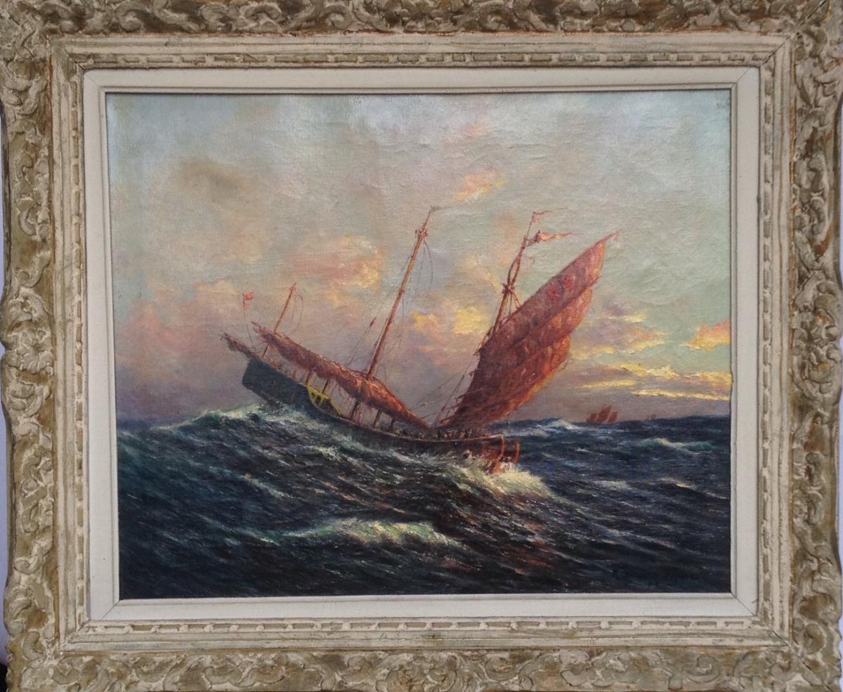 Robert Dumont-duparc, Felucca In Aegean Sea, Oil S / T, Signed
