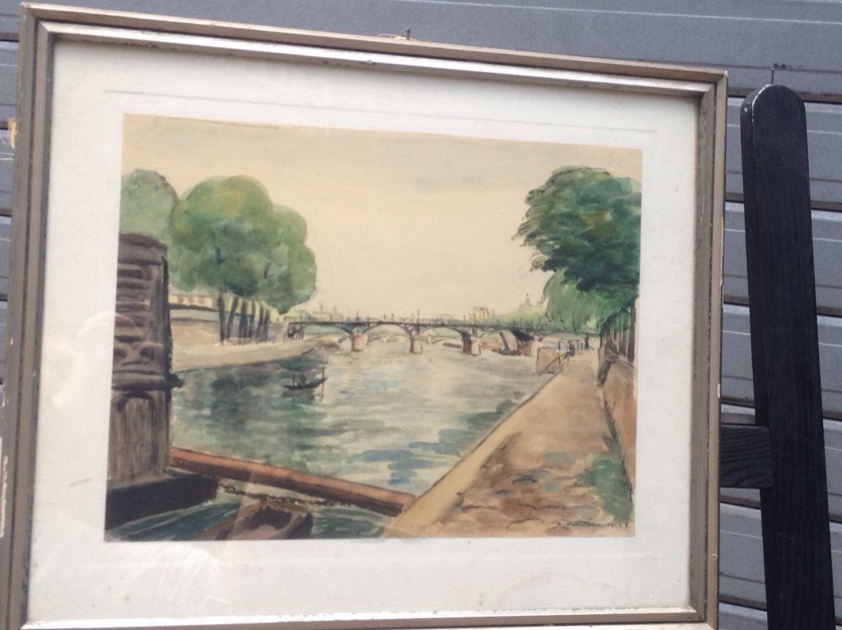 André Malterre, The Seine Bridges In Paris, Watercolor, Signed, 43 X 36 Cm