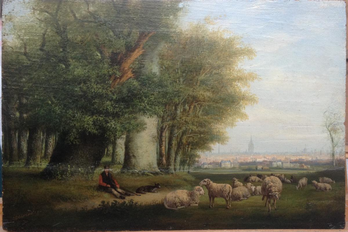 Carl Eduard Ahrendts The Old, Troupant Dominant City, Oil On Wood, 26 X 38 Cm