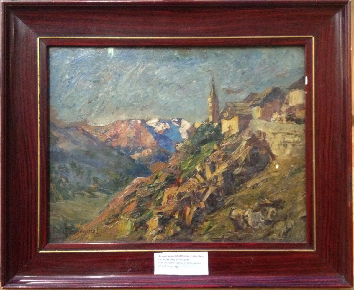 Joseph Victor Communal, The Bell Tower In The Mountain, Oil On Cardboard, 27 X 35 Cm
