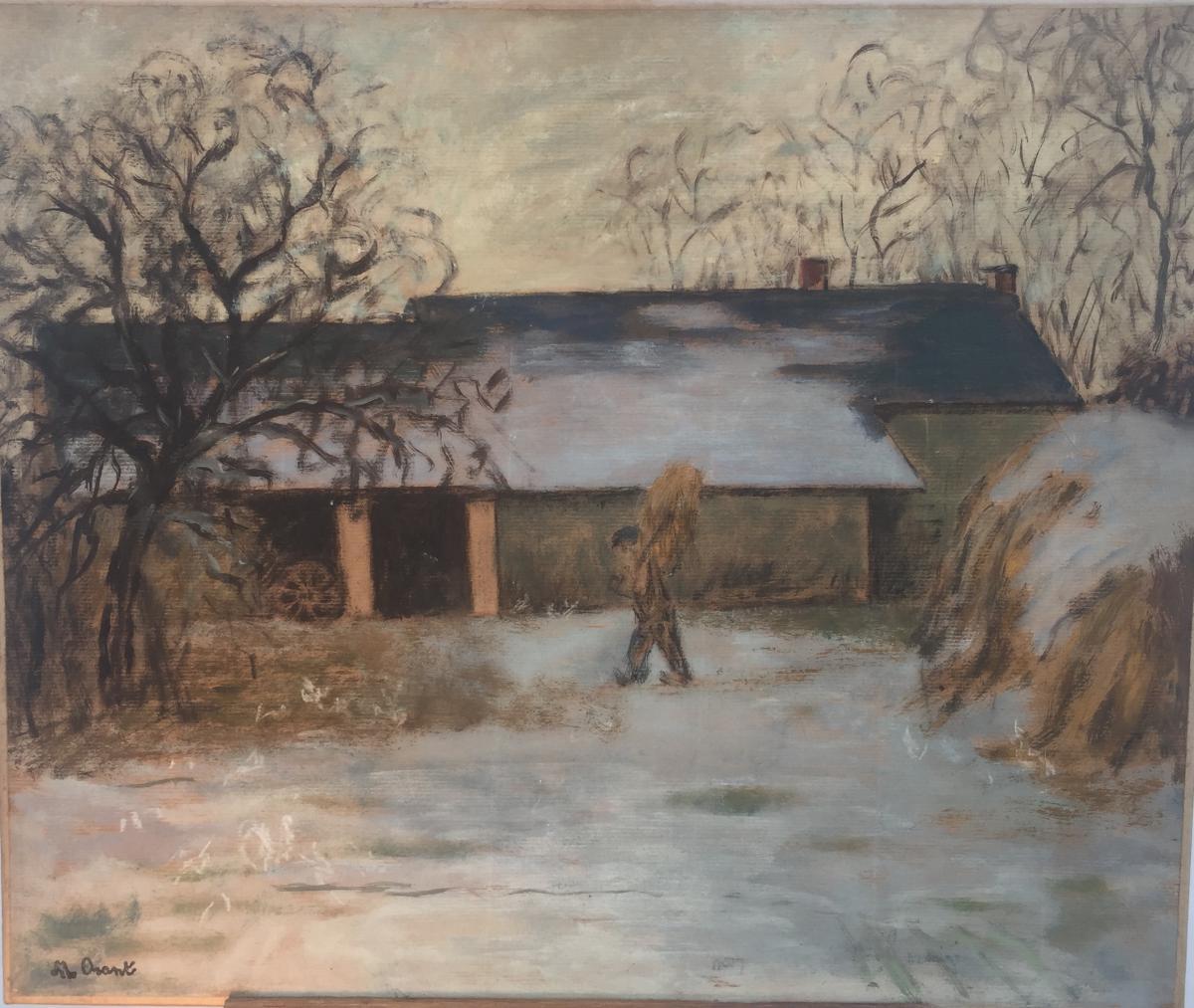 Marthe Orant, Cour De Ferme Enneigée, Huile Sur Toile, 46 X 55 Cm