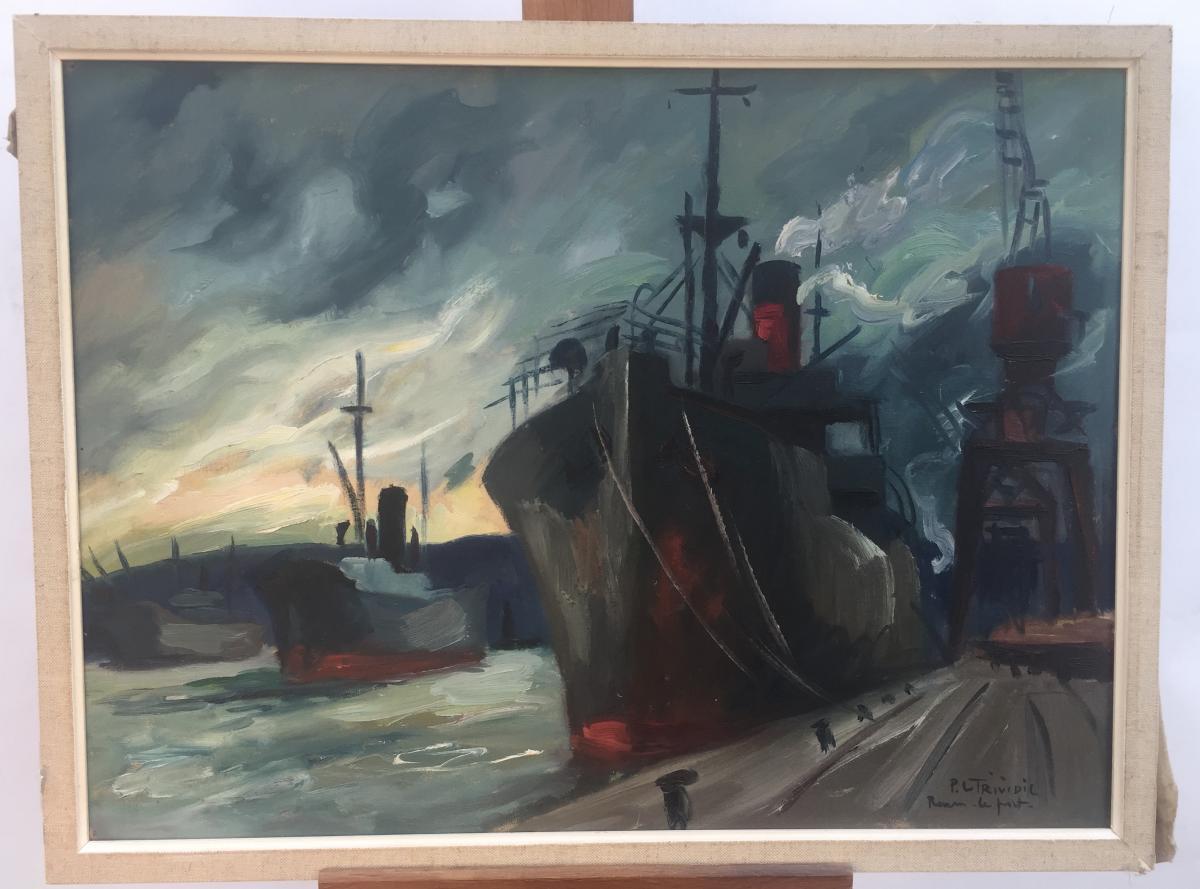 Pierre Letrividic, Le Port De Rouen, Huile Sur Toile, 52 X 68,5 Cm