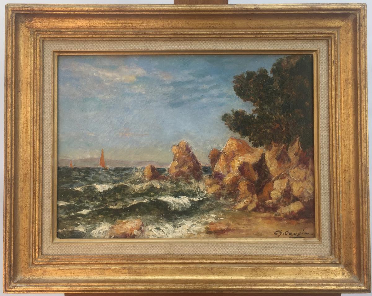 Charles Cousin, Cote Varoise Au Morillon, Huile Sur Toile, 35 X 43,5 Cm