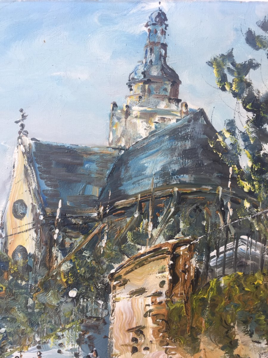 Raymond Besse, Saint Etienne Du Mont Church, Oil On Canvas, 50 X 100 Cm-photo-1