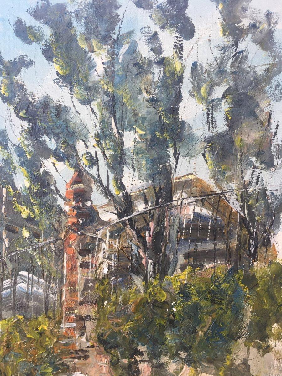 Raymond Besse, Saint Etienne Du Mont Church, Oil On Canvas, 50 X 100 Cm-photo-2