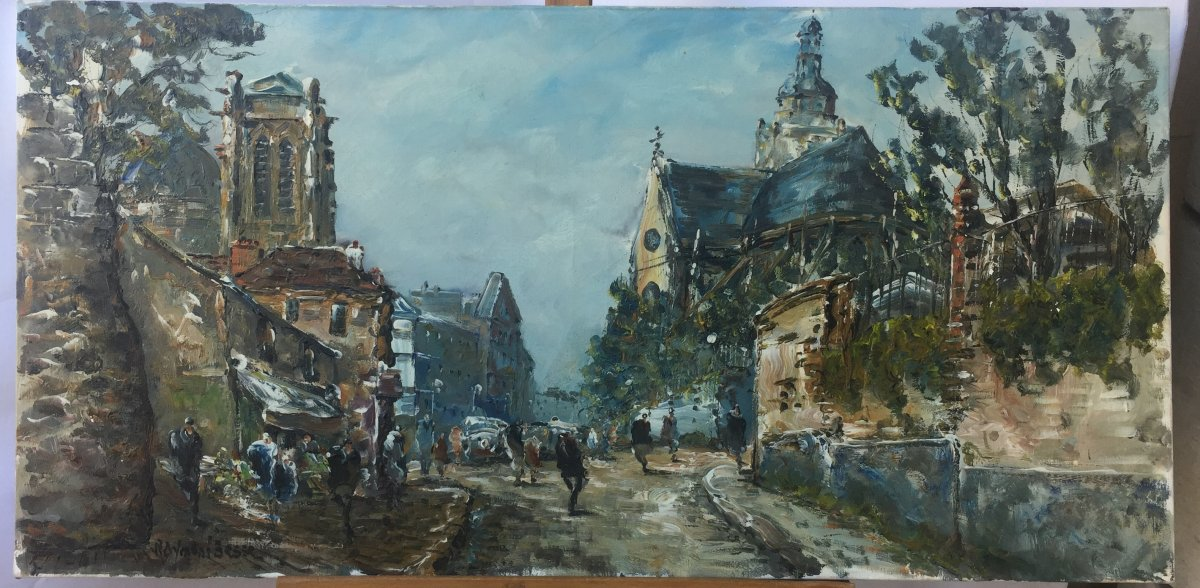 Raymond Besse, Saint Etienne Du Mont Church, Oil On Canvas, 50 X 100 Cm