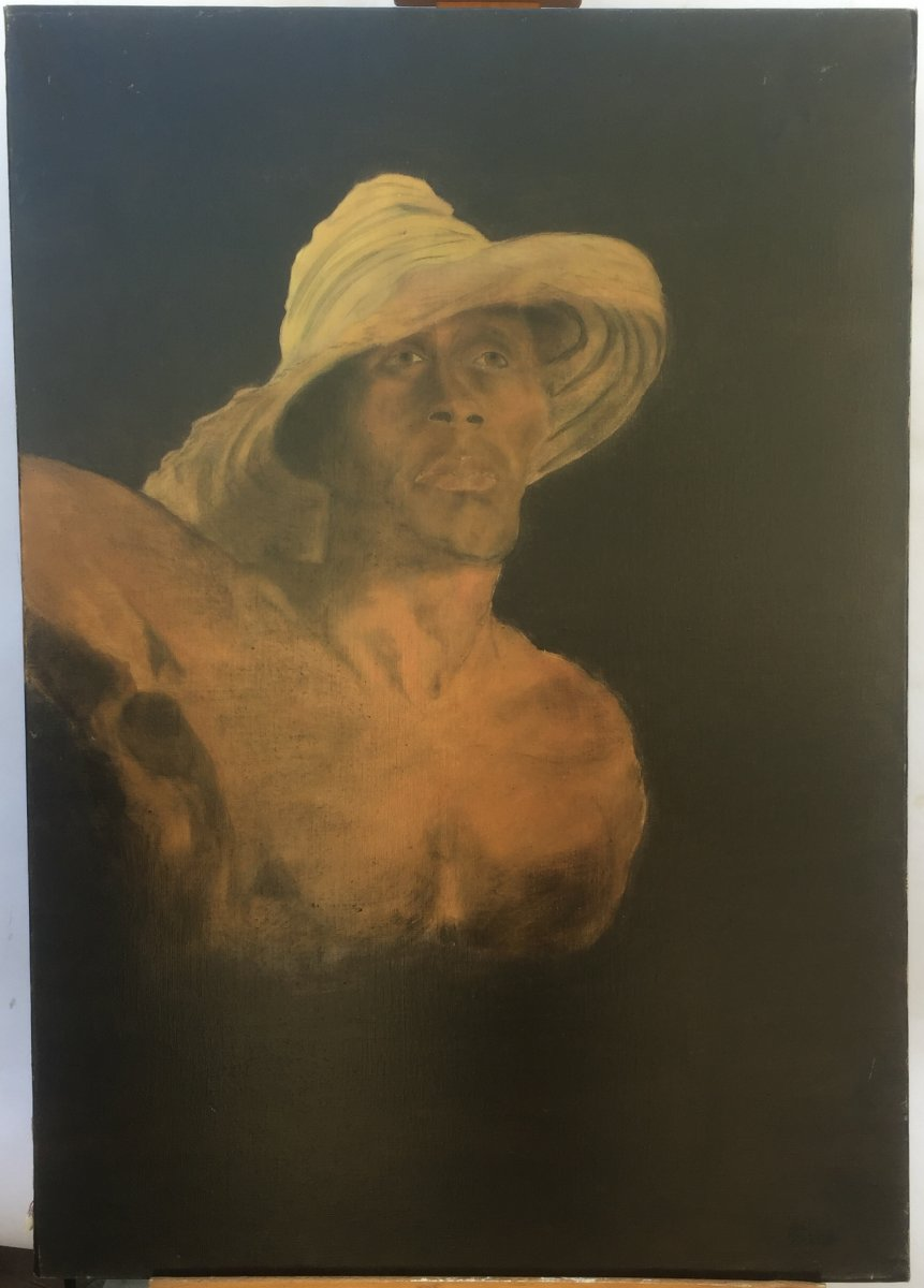 - Fossier Pel.<br /> - French school of the XXe century<br /> This painting is an echo to the exhibition&nbsp;&quot;Le mod&egrave;le noir de G&eacute;ricault &agrave; Matisse&quot; which takes place in the Mus&eacute;e d&#39;Orsay in 2018<br /> <br /> Signed in the lower right corner&nbsp;<br /> Painting sold without frame