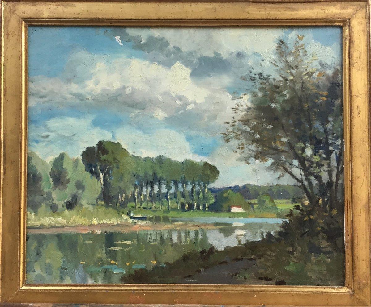 Paul Morchain, Italian Lake, Circa 1900, Oil On Wood, 40 X 60 Cm