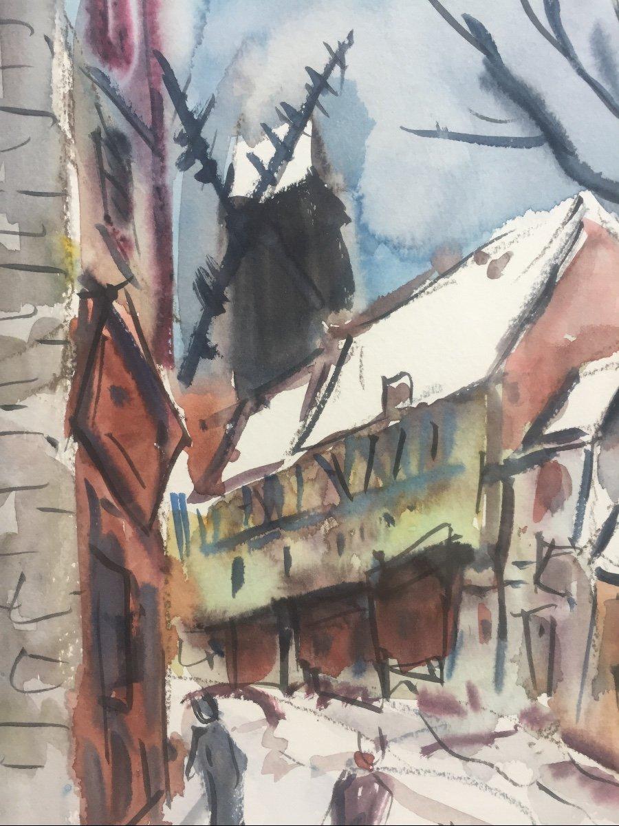 Roland Dubuc, Les 2 Derniers Moulins De Paris,  Moulin De La Galette, Huile Sur Toile, 54 x 68 -photo-3