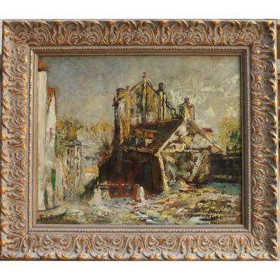 Fernand Laval, Le Lapin Agile, Huile Sur Toile, 54 X 45 Cm, Signé