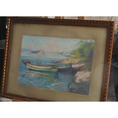 Louis Fortuney, Vue Du Port d'Antibes, Pastel, 63 X 45 à Vue, Signé